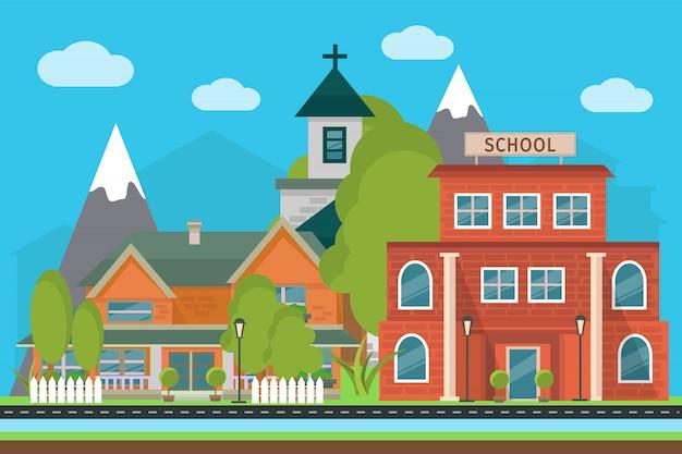 Ilustração da cidade plana com paisagem escola e edifícios da cidade nas montanhas