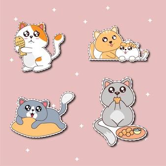 Ilustração da coleção de adesivos de gato fofo