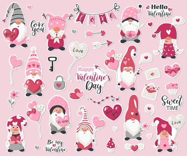 Ilustração da coleção de adesivos de gnomo do dia dos namorados