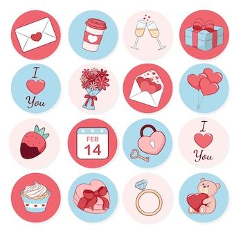Ilustração da coleção de adesivos dos namorados
