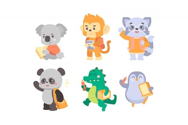 Ilustração da coleção de animais de volta à escola