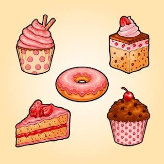 Ilustração da coleção de bolos doces