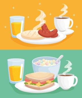 Ilustração da coleção de café da manhã