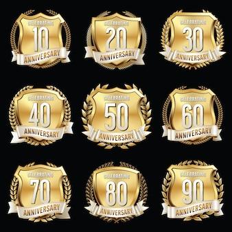Ilustração da coleção de emblemas de aniversário