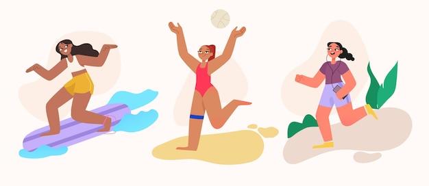 Ilustração da coleção de esportes de verão