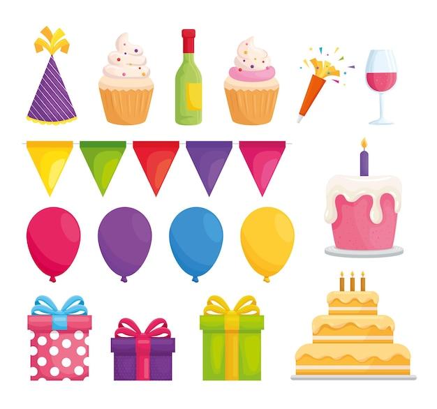 Ilustração da coleção de feliz aniversário