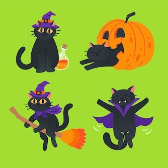 Ilustração da coleção de halloween do gato preto
