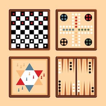 Ilustração da coleção de jogos de tabuleiro