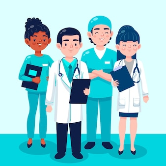 Ilustração da coleção de médicos e enfermeiras de desenhos animados
