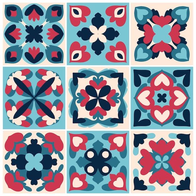 Ilustração da coleção de padrão texturizado de azulejos antigos