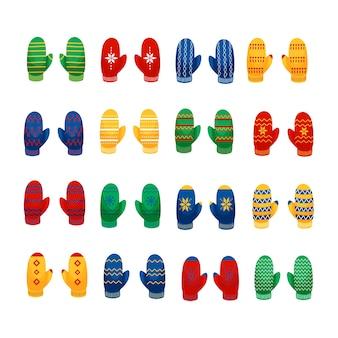 Ilustração da coleção de pares multicoloridos de luvas em um estilo cartoon plano isolado