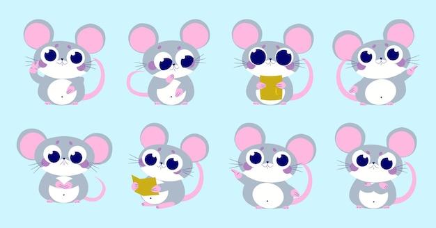 Ilustração da coleção de personagens animais de ratos fofos
