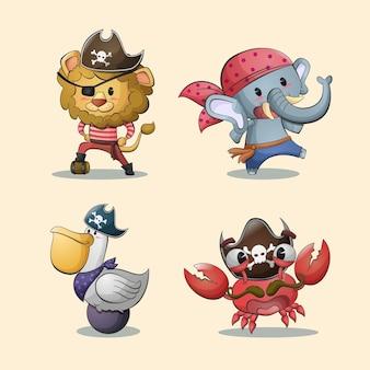 Ilustração da coleção de personagens de desenhos animados de animais piratas