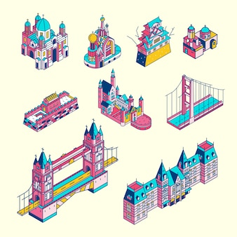 Ilustração da coleção de pontos turísticos mundialmente conhecida