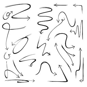 Ilustração da coleção de setas desenhadas à mão