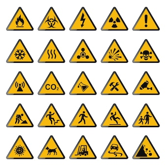 Ilustração da coleção de sinais de aviso amarelos
