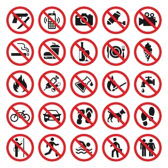 Ilustração da coleção de sinais de proibição em vermelho