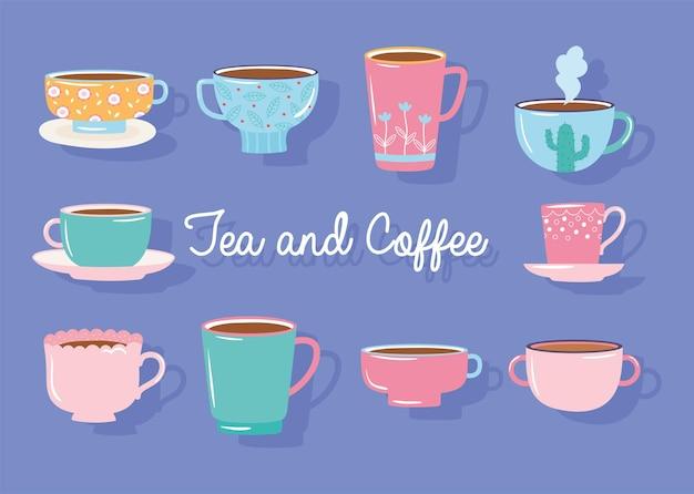 Ilustração da coleção decorada com diferentes xícaras de chá e café