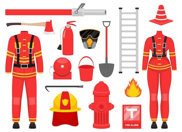 Ilustração da coleção do bombeiro isolada no branco
