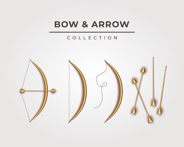Ilustração da coleção elegante de arco e flecha de ouro para a celebração da happy dussehra