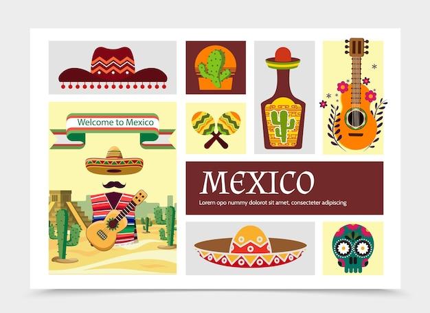 Ilustração da composição de elementos do flat mexico