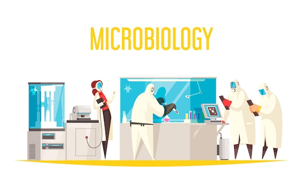 Ilustração da composição do laboratório de microbiologia