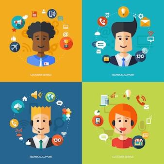 Ilustração da composição do negócio com suporte técnico