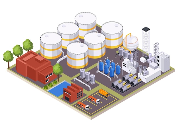 Ilustração da composição isométrica da indústria de petróleo e petróleo