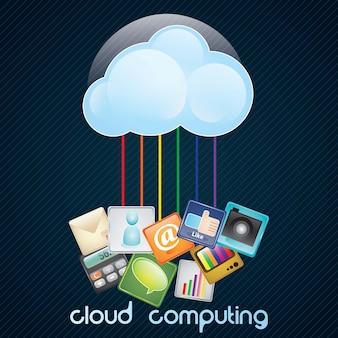 Ilustração da computação em nuvem e ilustração em vetor tecnologia de comunicações