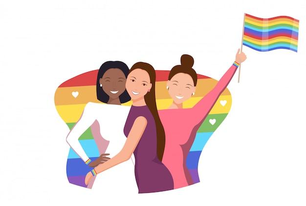 Ilustração da comunidade lgbt. mulher apaixonada. namoro romântico e pessoas lgbt. relações entre pessoas do mesmo sexo