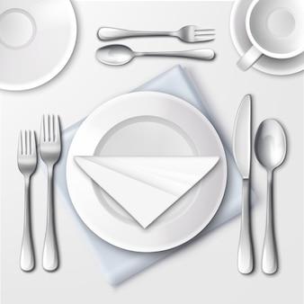 Ilustração da configuração da mesa em restaurante com pratos brancos e talheres