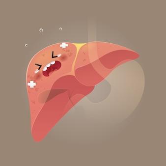 Ilustração da conscientização do fígado