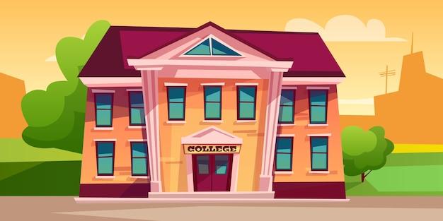 Ilustração da construção da faculdade para a educação.