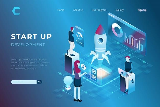 Ilustração da construção de uma startup com um símbolo de foguete planando, ilustração do trabalho em equipe no estilo 3d isométrico