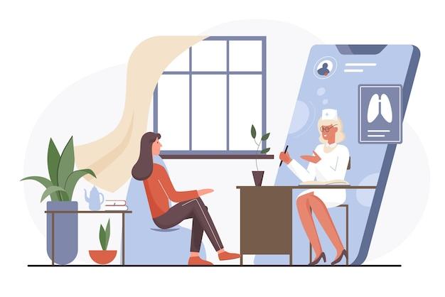 Ilustração da consulta médica do médico online.