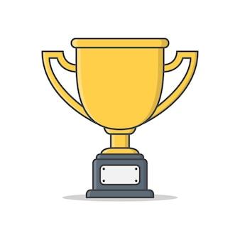 Ilustração da copa do troféu. vencedor prêmio flat. troféu de campeão