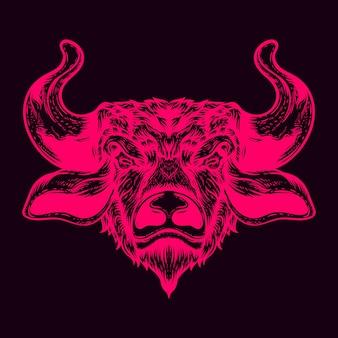 Ilustração da cor do brilho da cabeça do touro