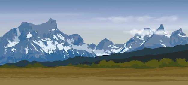 Ilustração da cordilheira de neve azul e pico