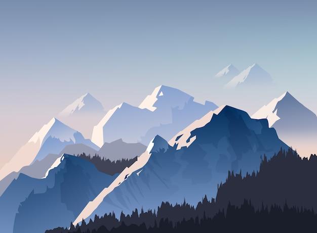 Ilustração da cordilheira e picos com a luz da manhã envolta em névoa, papel de parede de paisagem