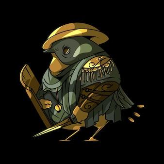 Ilustração da coruja guerreira