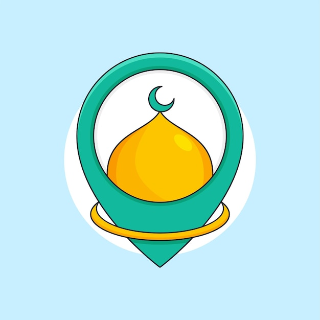 Ilustração da cúpula da mesquita no mapa do local do pino para o local de adoração islâmica modelo de logotipo
