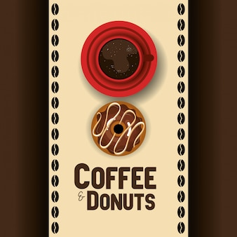 Ilustração da deliciosa xícara de café e rosquinhas