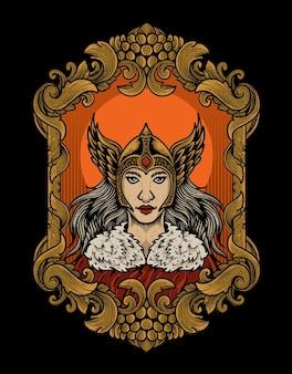 Ilustração da deusa valquíria com moldura de ornamento