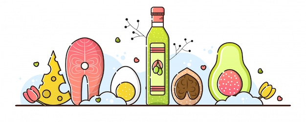 Ilustração da dieta ceto