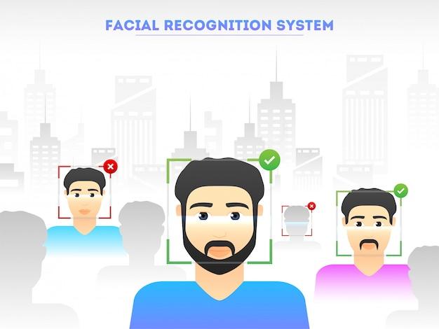 Ilustração da digitalização facial de pessoas para reconhecimento de identidade