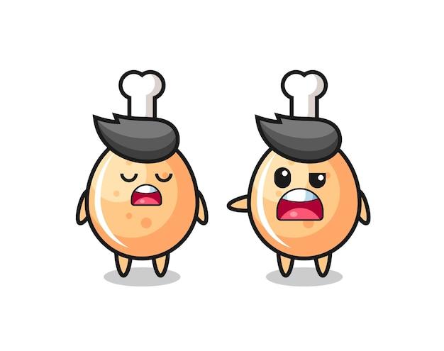 Ilustração da discussão entre dois personagens fofinhos de frango frito, design de estilo fofo para camiseta, adesivo, elemento de logotipo