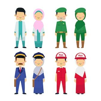 Ilustração da diversidade de pessoas que trabalham.