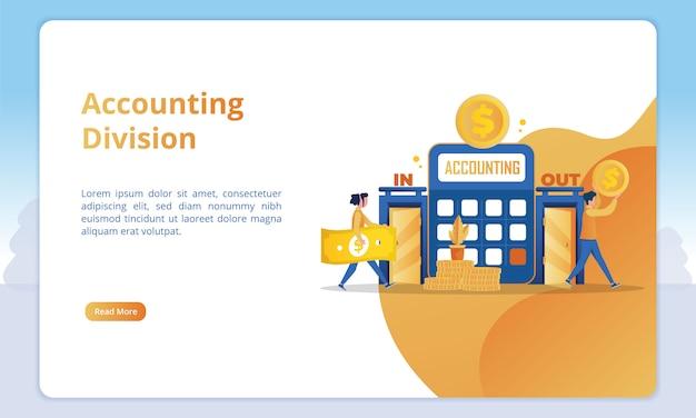 Ilustração da divisão de contabilidade para modelos de página de destino