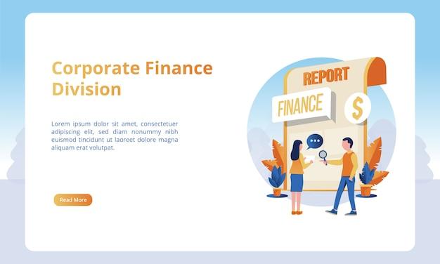 Ilustração da divisão de finanças corporativas, conceitos de negócios para modelos de páginas de destino