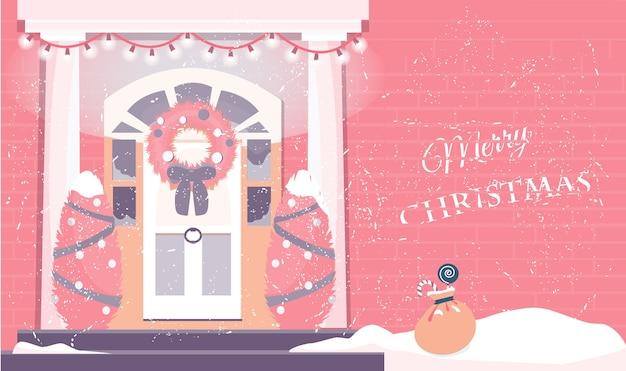 Ilustração da entrada da casa decorada